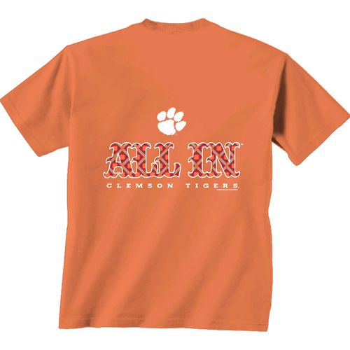 New World Graphics Women's Clemson University Comfort Color Initial Pattern T-shirt