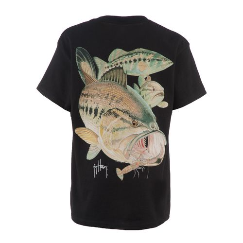 Guy Harvey Boys' Largemouth Bass and Crawdad Graphic T-shirt