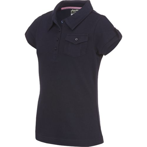 Austin Trading Co. Girls' Uniform Short Sleeve Self Collar Military Polo Shirt