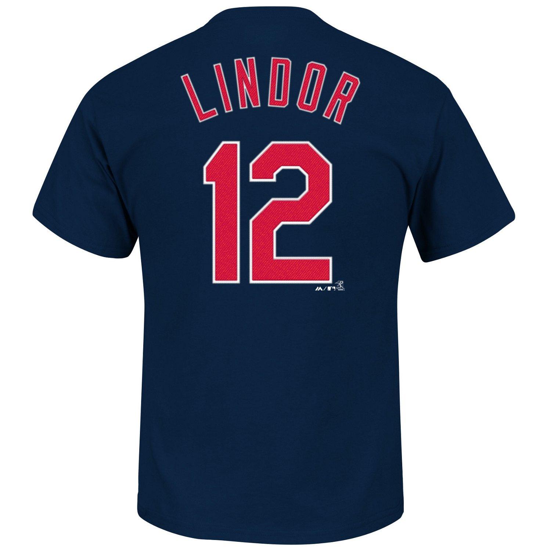 Majestic Men's Cleveland Indians Francisco Lindor #12 T-shirt