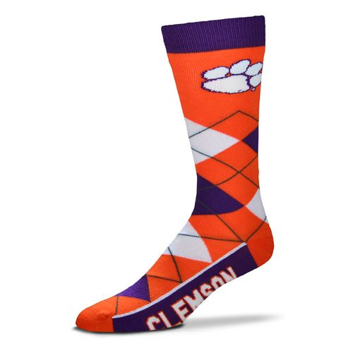 For Bare Feet Unisex Clemson University Team Pride Flag Top Dress Socks