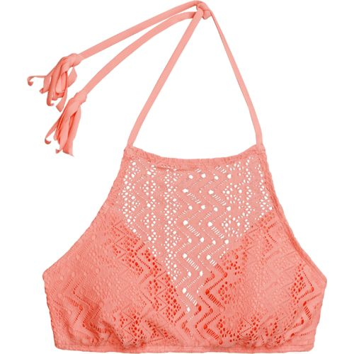 O'Rageous® Juniors' Crochet Flounce Halter Swim Top