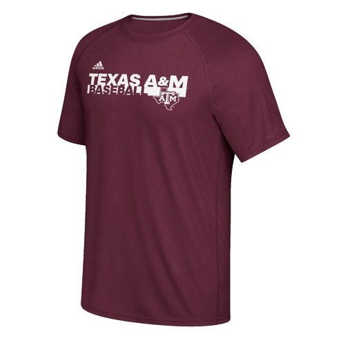 adidas Men's Texas A&M University Sideline Baseball Grind Ultimate T-shirt