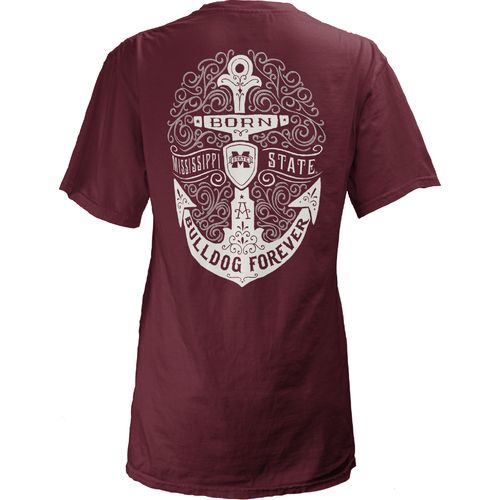 Three Squared Juniors' Mississippi State University Anchor Flourish V-neck T-shirt