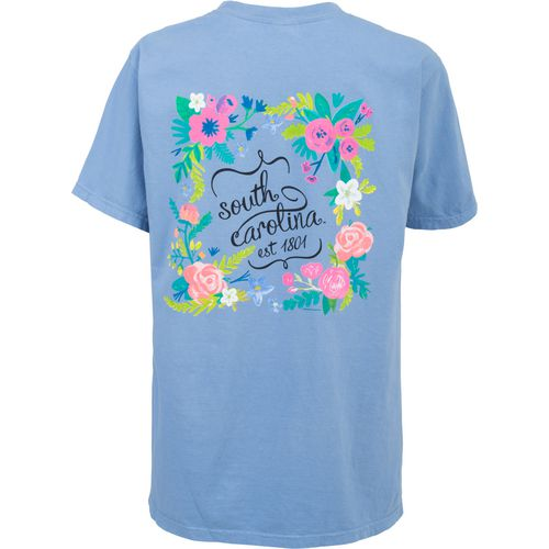 New World Graphics Women's University of South Carolina Comfort Color Circle Flowers T-shirt
