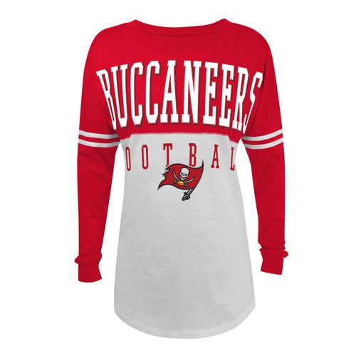 5th & Ocean Clothing Juniors' Tampa Bay Buccaneers Baby Jersey Long Sleeve T-shirt