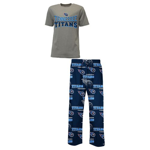 Concepts Sport™ Men's Tennessee Titans Fusion Short Sleeve Top and Knit Pant Set