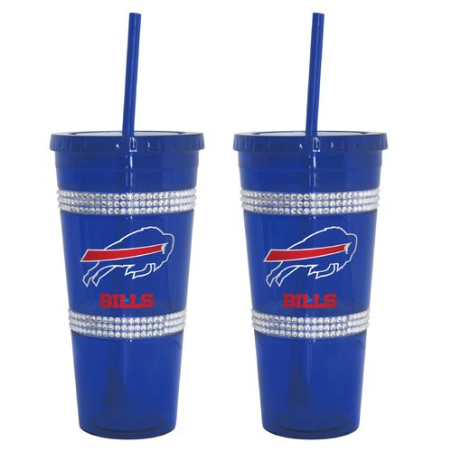Boelter Brands Buffalo Bills 22 oz. Bling Straw Tumblers 2-Pack - view number 1