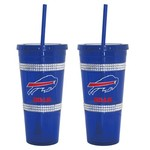 Boelter Brands Buffalo Bills 22 oz. Bling Straw Tumblers 2-Pack