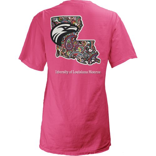 Three Squared Juniors' University of Louisiana at Monroe Preppy Paisley T-shirt