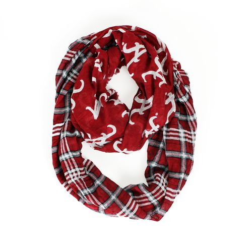 ZooZatz Women's University of Alabama Tartan Infinity Scarf
