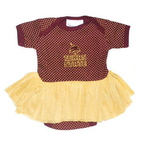 Two Feet Ahead Infant Girls' Texas State University Pin Dot Tutu Creeper