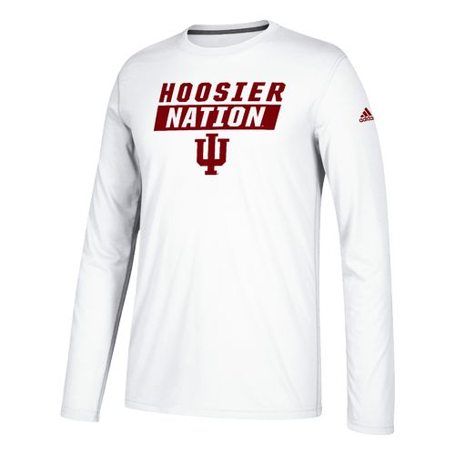 adidas Men's Indiana University Block Statement Long Sleeve Basketball T-shirt
