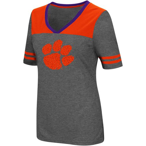 Colosseum Athletics Women's Clemson University Twist V-neck 2.3 T-shirt