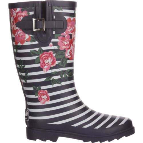 Display product reviews for Austin Trading Co. Women's Floral Stripe Rubber Boots