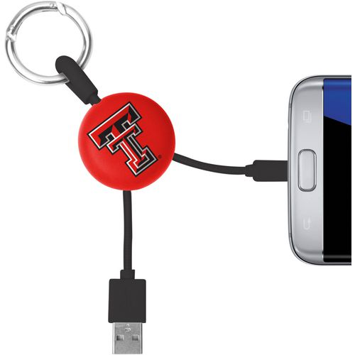 Mizco Texas Tech University Micro Phone Charger Keychain Cable