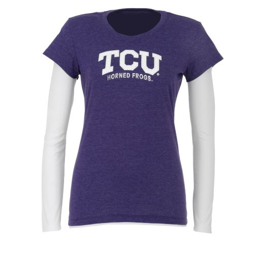 Colosseum Athletics Women's Texas Christian University Cascade Double Layer T-shirt