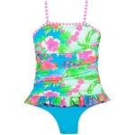 O'Rageous® Girls' Tropicana Multicolored Shirred Dress Swimsuit