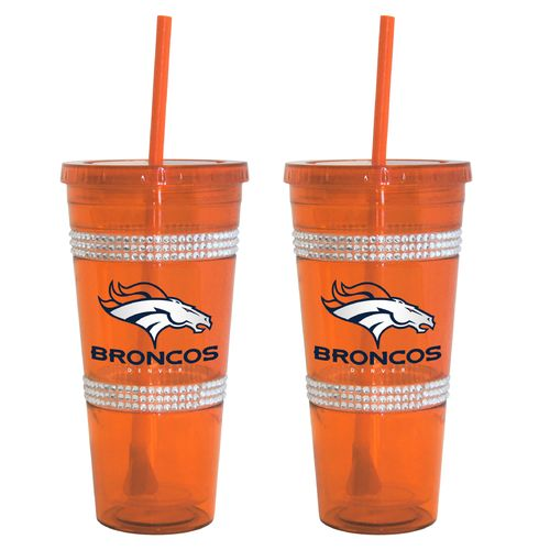 Boelter Brands Denver Broncos 22 oz. Bling Straw Tumblers 2-Pack