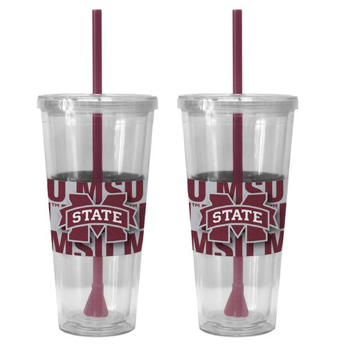 Boelter Brands Mississippi State University Bold Neo Sleeve 22 oz. Straw Tumblers 2-Pack - view number 1