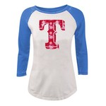 5th & Ocean Clothing Juniors' Texas Rangers Floral Raglan T-shirt