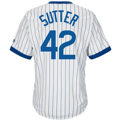 Discount Majestic Men's Chicago Cubs Bruce Sutter #42 Cooperstown Cool Base 1968-69 Replica Jersey supplier