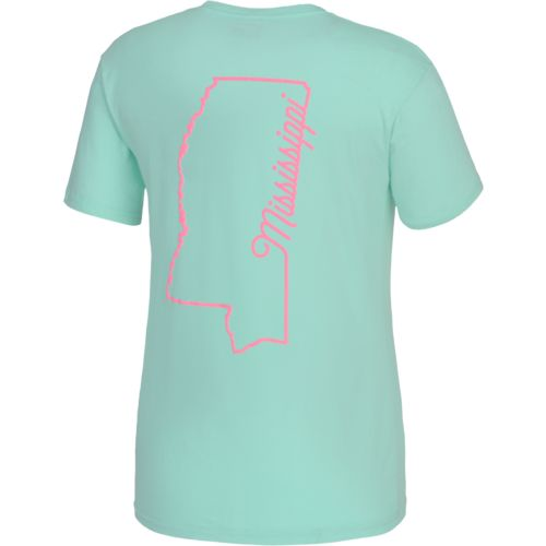 Royce Juniors' State Pride Mississippi Outline Script T-shirt