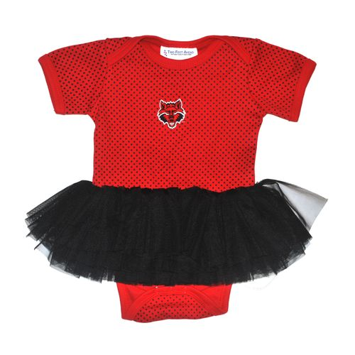 Two Feet Ahead Infants' Arkansas State University Pin Dot Tutu Creeper
