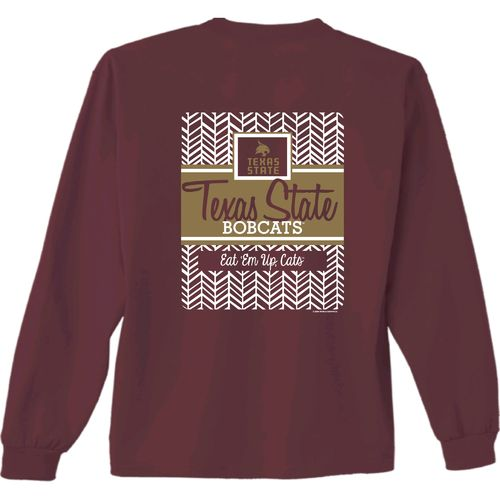 New World Graphics Women's Texas State University Herringbone Long Sleeve T-shirt