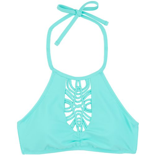 O'Rageous Juniors' Mint Crush High Neck Halter Bralette Swim Top