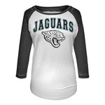 5th & Ocean Clothing Juniors' Jacksonville Jaguars Burnout M2O 3/4 Sleeve T-shirt