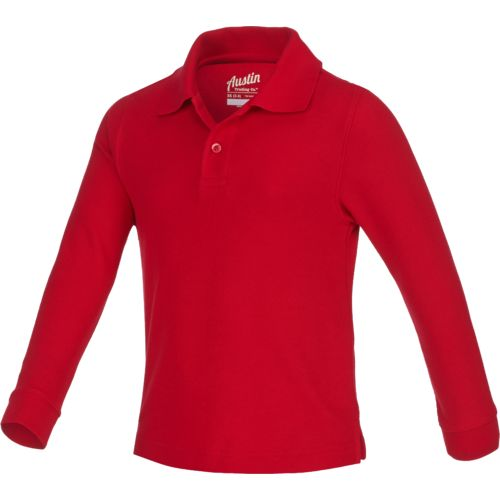 Austin Trading Co. Boys' Uniform Long Sleeve Pique Polo Shirt