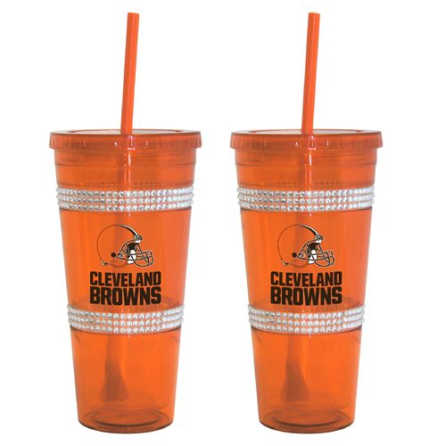 Boelter Brands Cleveland Browns 22 oz. Bling Straw Tumblers 2-Pack - view number 1