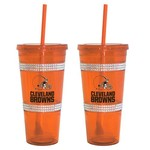 Boelter Brands Cleveland Browns 22 oz. Bling Straw Tumblers 2-Pack