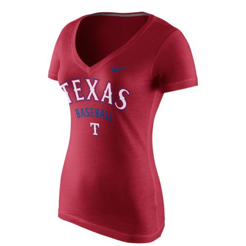 Nike™ Women's Texas Rangers V-neck Cotton Short Sleeve T-shirt