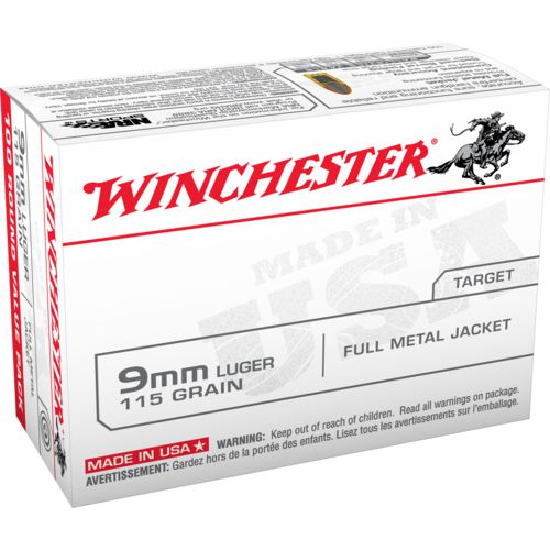 Winchester USA Full Metal Jacket 9mm 100-round 115-Grain Handgun Ammunition