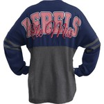 Three Squared Juniors' University of Mississippi Varsity Script Logo Sweeper T-shirt