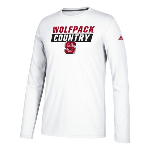 adidas Men's North Carolina State University Block Statement Long Sleeve Basketball T-shirt