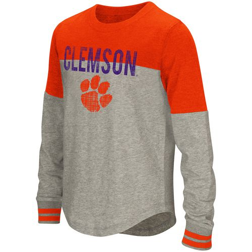 Colosseum Athletics Girls' Clemson University Baton Long Sleeve T-shirt