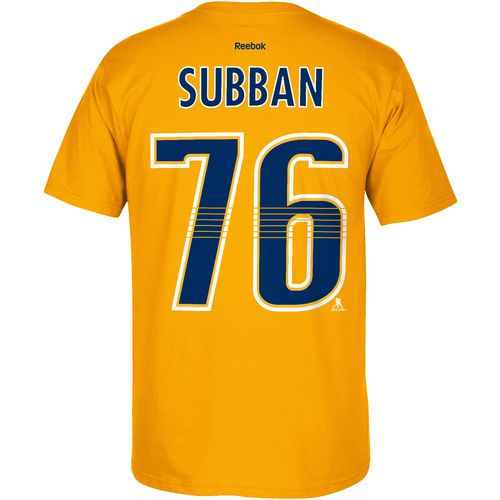 Reebok Men's Nashville Predators P. K. Subban 76 Flat Name and Number T-shirt