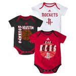 adidas Infants' Houston Rockets 3 Point Spread Bodysuits 3-Pack
