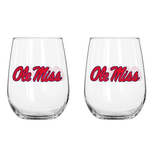 Boelter Brands University of Mississippi 16 oz. Curved Beverage Glasses 2-Pack