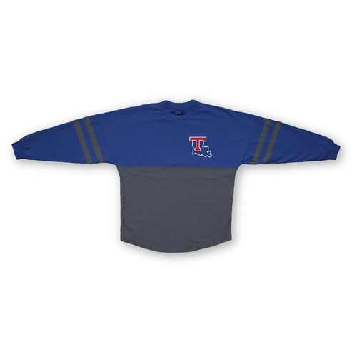 Three Squared Juniors' Louisiana Tech University Varsity Script Logo Sweeper T-shirt