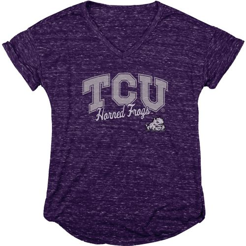 Blue 84 Women's Texas Christian University Dark Confetti V-neck T-shirt