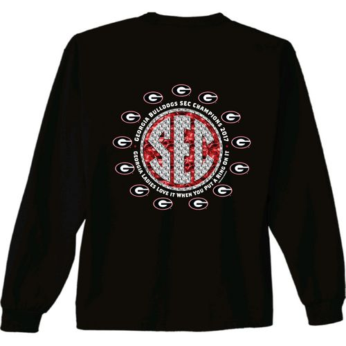 New World Graphics Women's University of Georgia SEC Champ Bling Long Sleeve T-Shirt