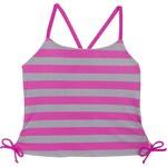 Malibu Girls' Bubbly Stripe Side Shirred Tankini