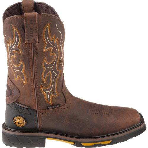 Justin Men s Hybred Rustic Barnwood Composition Toe Work Boots