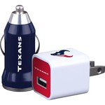 Mizco Houston Texans Home and Away USB Chargers 2-Pack