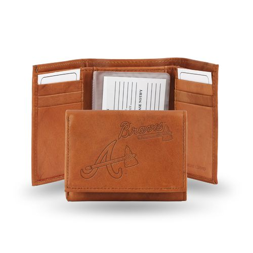 Rico Atlanta Braves Embossed Trifold Leather Wallet