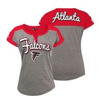 5th & Ocean Clothing Juniors' Atlanta Falcons Slub Notched Neck T-shirt